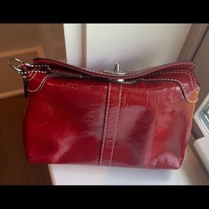 Coach red leather small clutch